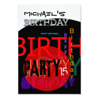 Typographic Happy 15th Birthday Party Invitation