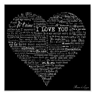 Typographic I love You Heart Multi languages Poster