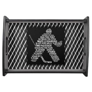 Typographic Ice Hockey Goalie Wood Tray Serving Platter