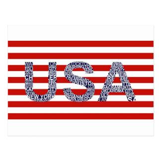 Typographic illustration with text USA Postcard