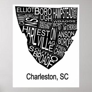 Typographic Map of Charleston Negative Poster