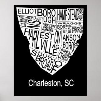 Typographic Map of Charleston Posters