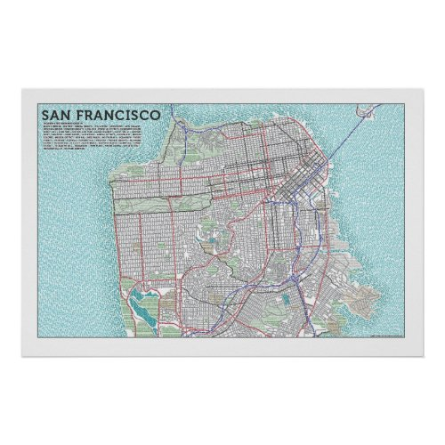 Typographic Map of San Francisco Poster print