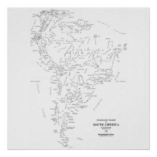 Typographic Map of South America Print