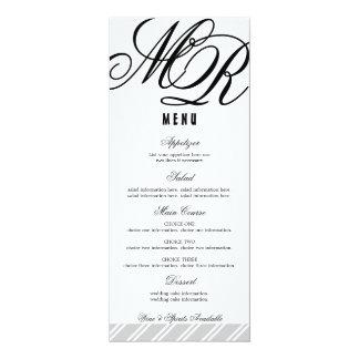 Typographic Monogram Striped Reception Menu Card