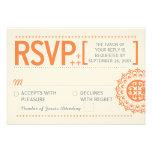 Typographic Ornamental Orange Wedding Reply Announcement