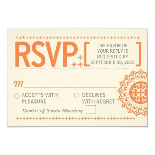 "Typographic Ornamental Orange Wedding Reply 3.5"" X 5"" Invitation Card"