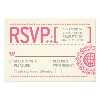 Typographic Ornamental Pink Wedding Reply Personalized Invites