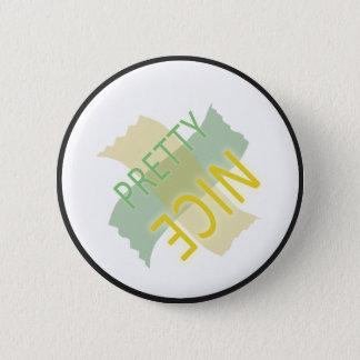 Typographic Pretty Nice Yellow Green Pinback Button