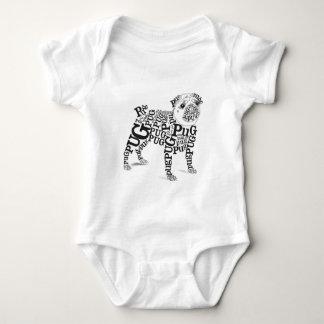 Typographic Pug Baby Bodysuit