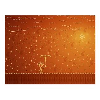 Typographic Rain (Color 2) Postcard