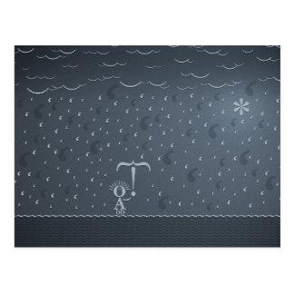 Typographic Rain Postcard