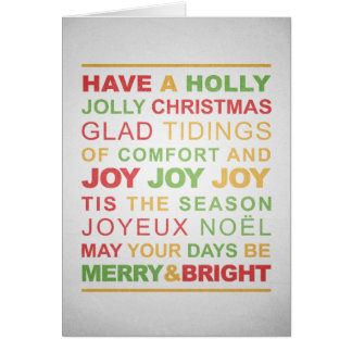 Typographic Red, Green & Gold Christmas Greeting Card