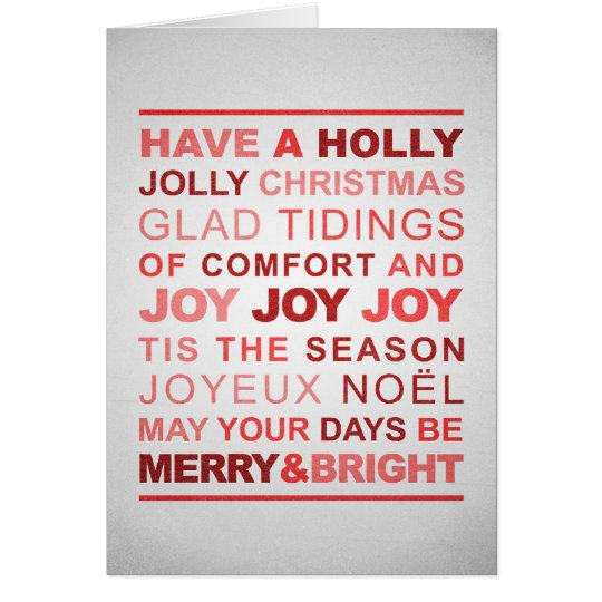 Typographic Red & Silver Christmas Card