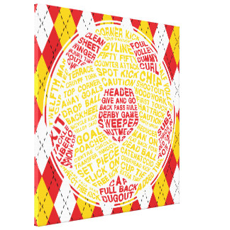 Typographic Soccer Ball Box Canvas