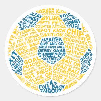 Typographic Soccer Ball Classic Round Sticker