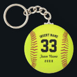 """Typographic Softball Team Keychain<br><div class=""""desc"""">Softball. Clipart softball theme. Customizable. Black text. Enter the player&#39;s name,  number,  team name and year.  Ideal gift for friends and family. Art by Jos&#233; Ricardo</div>"""