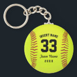 "Typographic Softball Team Keychain<br><div class=""desc"">Softball. Clipart softball theme. Customizable. Black text. Enter the player&#39;s name,  number,  team name and year.  Ideal gift for friends and family. Art by Jos&#233; Ricardo</div>"