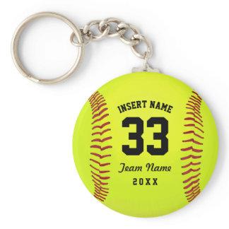 Typographic Softball Team Keychain