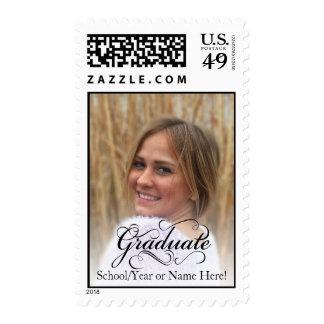 Typographic Swirl Custom Photo Graduation Postage