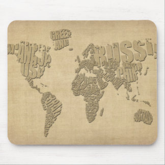 Typographic Text Map of the World Mouse Mats