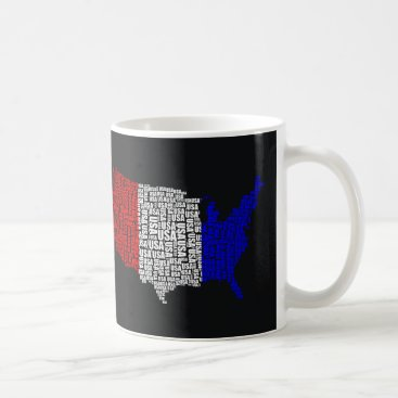 USA Themed Typographic USA in Red, White and Blue Coffee Mug
