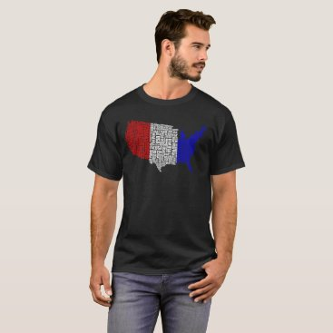 USA Themed Typographic USA in Red, White and Blue T-Shirt
