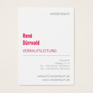Typographic visiting cards coral