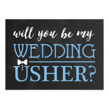 Typographic Blue Gray Wedding Usher Card