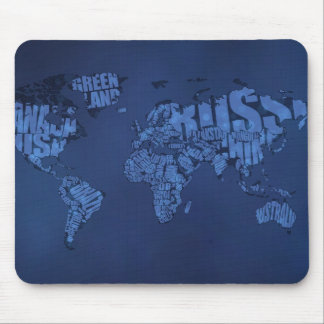 Typographic World Map (Dark) Mouse Pads