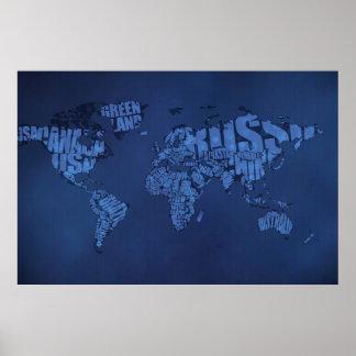 Typographic World Map (Dark) Poster
