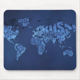Typographic World Map (Night) Mousepad