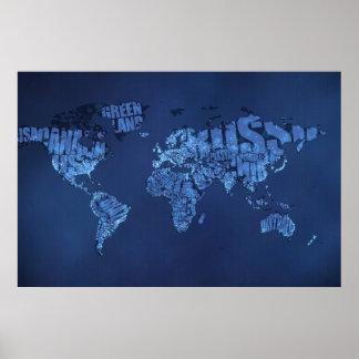 Typographic World Map (Night) Poster