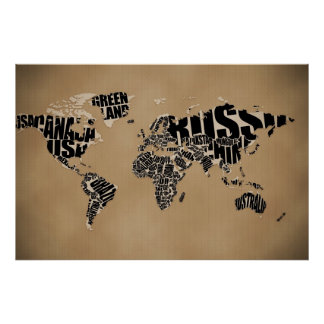 Typographic World  Map Poster