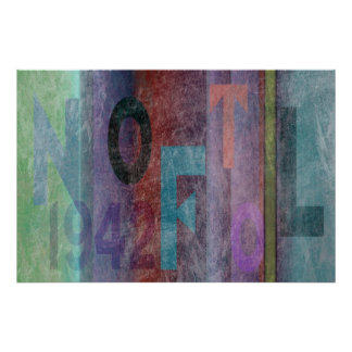 Typography Abstract Multicolored Print