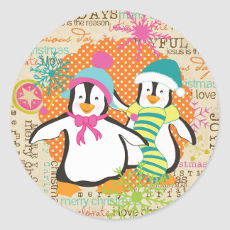 Typography and Penguins Holiday Round Sticker