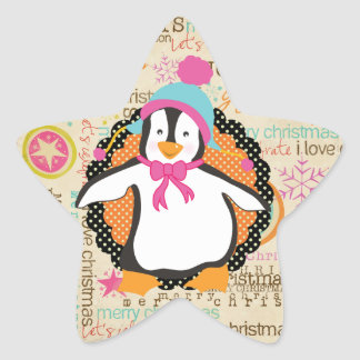 Typography and Penguins Star Sticker