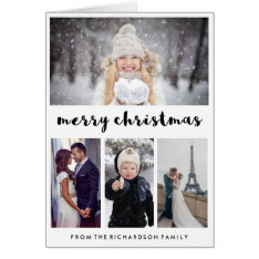Typography And Photos | Modern Merry Christmas Card at Zazzle