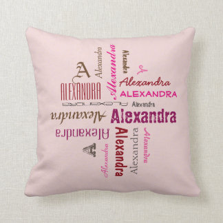 Typography any Personal Name Collage any Color Throw Pillow