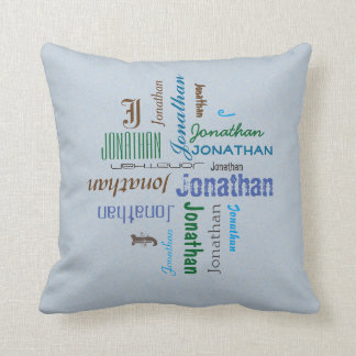 Typography any Personal Name Collage on any Color Pillow