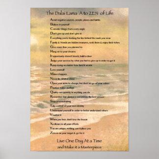 Typography Art, Dalai Lama A to Zen of Life Poster
