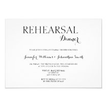 Typography b&w rehearsal dinner invitations