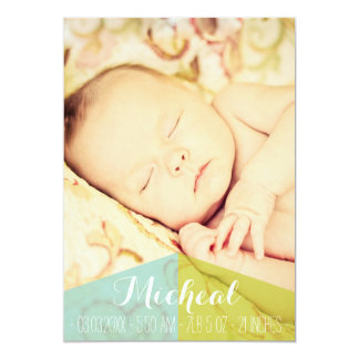 Typography Baby Boy Birth Announcement Photo Card
