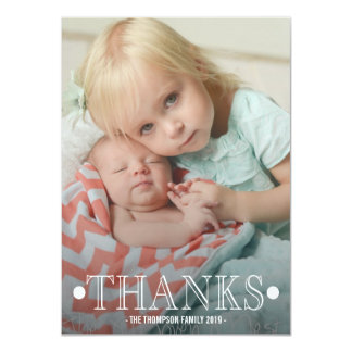 Typography Baby Thank You Photo Flat Card Personalized Invite