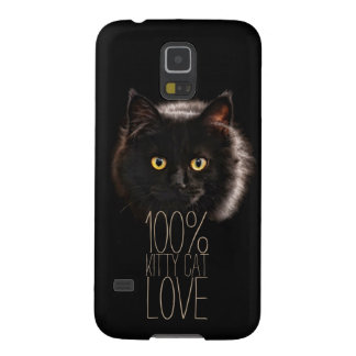Typography Black Cat 100% Kitty Cat Love Galaxy S5 Cover