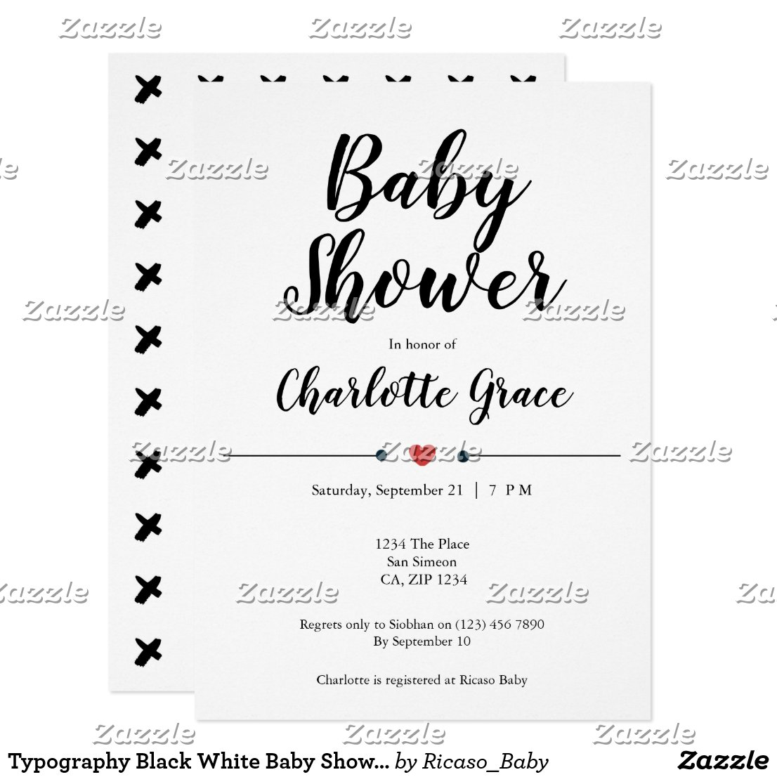 Typography Black White Baby Shower Heart Kisses Invitation