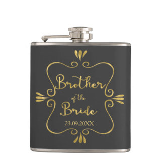 Typography Brother of the Bride Funny Flask
