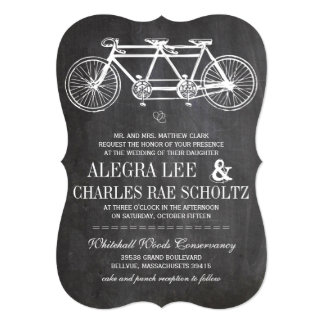 Typography Chalkboard Bicycle Built for Two Card