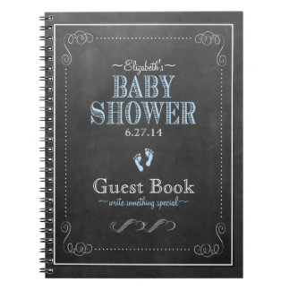 Typography Chalkboard Blue Baby Shower Guest Book Notebook