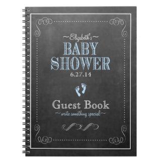Typography Chalkboard Blue Baby Shower Guest Book Spiral Notebook